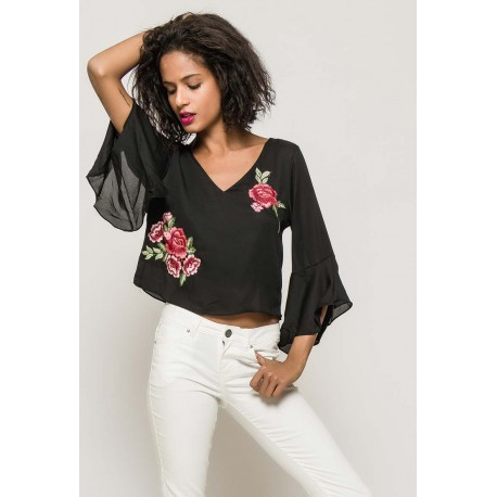 Flower Blouse Black